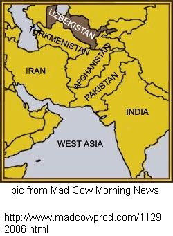 Uzbekistan map from Mad Cow Morning News