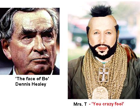 Dennis Healey and Margaret Thatcher on a particularly bad hair day
