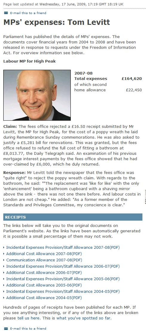Tmm Levitt expenses claims - one of the most expensive MPs who helped murder over 1,000,000 Iraqi people