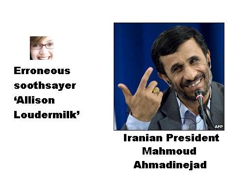 Allison Loudermilk and Iranian president Mahmoud Ahmadinejad